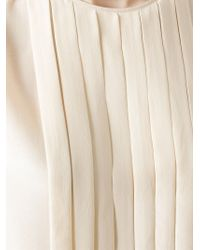 Ferragamo | Natural Pleated Front Blouse | Lyst