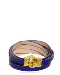 Alexander McQueen | Purple Skull Multi Rows Leather Bracelet | Lyst