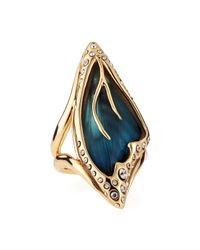 Alexis Bittar Blue Pave Crystal Butterfly Wing Ring