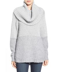 MICHAEL Michael Kors | Gray Removable Cowl Metallic Knit Poncho | Lyst