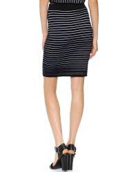Jonathan Simkhai Blue Knit Ribbed Pencil Skirt - Navy/black/white Stripe