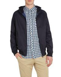 Ben Sherman | Blue Hooded Showerproof Harrington Jacket for Men | Lyst