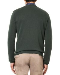 Esk Green V-Neck Cashmere Sweater for men