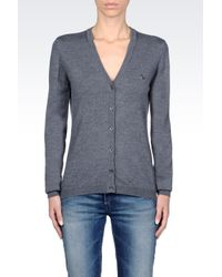 Armani Jeans | Gray Cardigan In Virgin Wool | Lyst