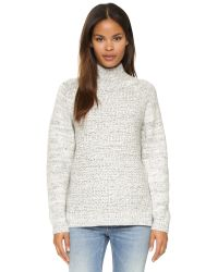 DKNY | White Pure Long Sleeve Mock Neck Pullover - Chalk/black | Lyst