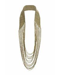 TOPSHOP - Metallic Beaded Multirow Drape Necklace - Lyst