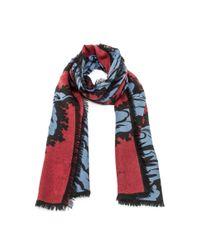 Burberry - Blue Large All Over Leaf Cashmere Scarf In Garnet Pink - Lyst
