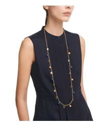 Tory Burch - Metallic Wood And Resin Logo Charm Rosary Necklace - Lyst