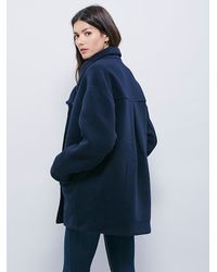 Free People | Blue Womens Boiled Wool Cocoon Co | Lyst
