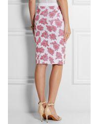 Nina Ricci - Pink Floral Jersey-jacquard Pencil Skirt - Lyst