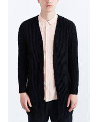 Your Neighbors Black Boucle Open Long Cardigan for men