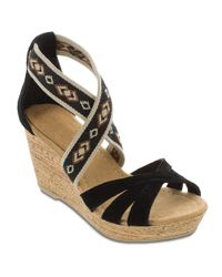 Minnetonka | Black Drew Suede And Elastic Wedge Sandals | Lyst