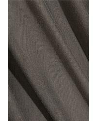Rick Owens Gray Draped Silk-Jersey Top