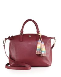Tory Burch | Purple Kerrington Leather & Multicolor Tassel Satchel | Lyst