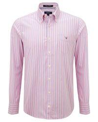 GANT Pink Pinpoint Stripe Oxford Long Sleeve Shirt for men