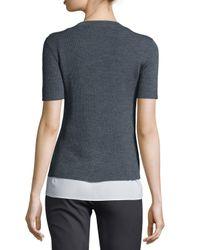 JOSEPH - Gray Short-sleeve Ribbed Sweater W/ Blouse Layer - Lyst