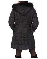 Jane Norman - Black Longline Belted Padded Coat - Lyst