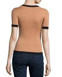 Michael Kors - Brown Short-sleeve Scoop-neck Top With Contrast Trim - Lyst
