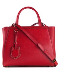 Fendi - Red Mini 2Jours Calf-Leather Tote - Lyst