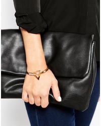 ASOS | Metallic Open Triangle Double Cuff Bracelets | Lyst
