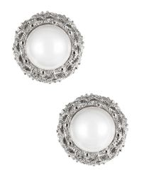 Nadri | Metallic Faux Pearl Stud Earrings | Lyst