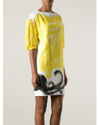 Tsumori Chisato - Yellow Panelled Octopus Print Dress - Lyst