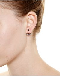 Yvonne Léon - 18K Gold And Black Diamond Leaf Lobe Earring - Lyst
