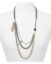 Express - Metallic Layered Chain and Faceted Stone Necklace - Lyst