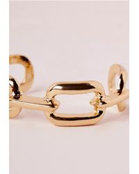 Missguided | Metallic Linked Cuff Gold | Lyst