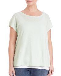 Eileen Fisher Green Hemp & Organic Cotton Short-sleeve Tee