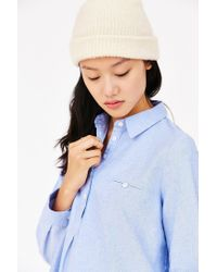 BDG Blue Popover Oxford Tunic Top