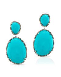 Anne Sisteron | 14kt Oxidized White Gold Turquoise And Diamond Earrings | Lyst