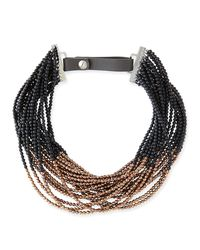 Brunello Cucinelli Brown Agate Copper Beaded Choker Necklace