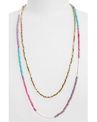 Panacea | Pink Beaded Multistrand Necklace | Lyst