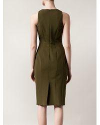 Cushnie et Ochs Green Lace-up Detailing Dress
