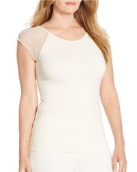 Lauren by Ralph Lauren | Natural Plus Sheer-sleeved Jersey Top | Lyst