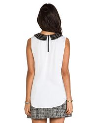 MILLY - Matte Stretch Silk Stud Collar Sleeveless Tank in White - Lyst