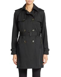 Jones New York Black Petite Double Breasted Belted Trench Coat
