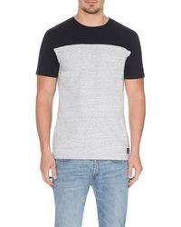 Paul Smith | Black Contrast-panel Cotton T-shirt, Men's, Size: L, Grey for Men | Lyst