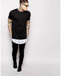 ASOS Black Super Longline T-shirt With Check Hem Panel for men