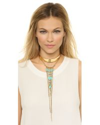 Vanessa Mooney | Metallic Walkin' After Midnight Necklace - Gold/turquoise | Lyst