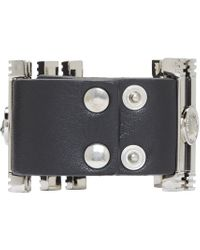 Versus - Black And Silver Leather Cuff Bracelet - Lyst
