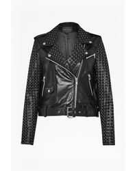 French Connection | Black Chaos Leather Studded Biker Jacket | Lyst