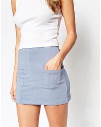 ASOS - Natural Block Pocket Utility Pull On Mini Skirt - Lyst