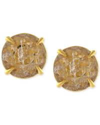 Vince Camuto | Metallic Gold-tone Crackle Stone Round Stud Earrings | Lyst