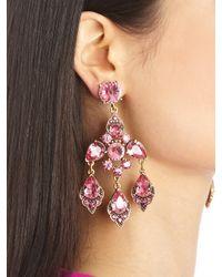 Oscar de la Renta Purple Magenta Swarovski Crystal Chandelier Earrings