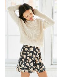 Kimchi Blue | Natural Lace Trim Cropped Sweater | Lyst