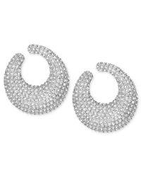 Swarovski | White Rhodium-Plated Crystal Pave Hoop Earrings | Lyst