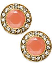 ABS By Allen Schwartz Orange Crystal Stone Stud Earrings