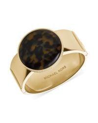 Michael Kors - Metallic Goldtone Pavèedged Tortoise Disc Hinge Bangle Bracelet - Lyst